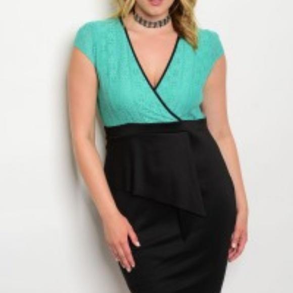 Green Lace V-neck dress